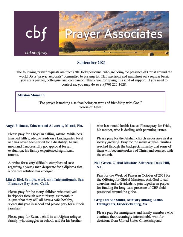 September - Prayer Associates-thumb